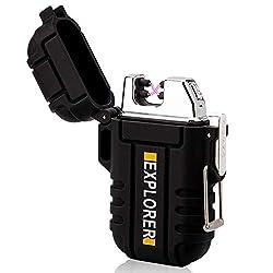 lcfun Waterproof Lighter Outdoor Windproof Lighter Dual Arc Electric...