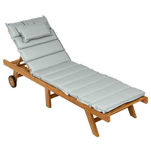 Nexos DIVERO Sonnenliege Holzliege Gartenliege klappbar Teakholz behandelt inkl. Räder Auflage Farbe wählbar (Grau)