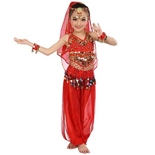 Magogo Mädchen Bauchtanz Kostüm Party Fancy Dress Glänzende Karneval Outfit, Kinder Arabische Prinzessin Kleidung Cosplay Dancewear (L, Rot)