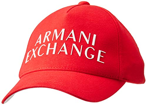A|X Armani Exchange Men's Raised Rubber Logo Baseball Hat, Chinese Red - Chinese Red, OS