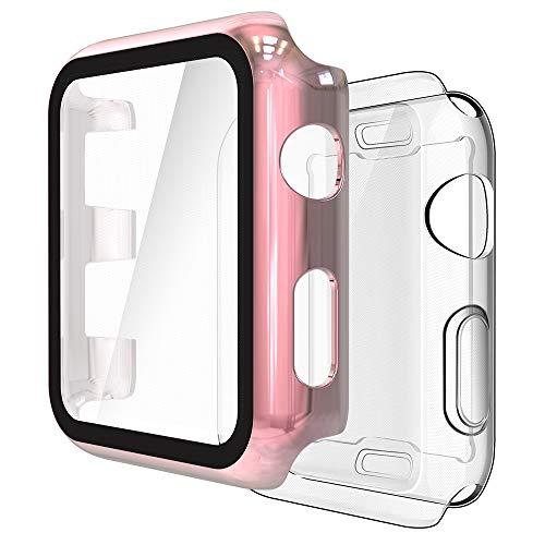 Simpeak Cover Compatibile con Apple Watch 38mm Series2 3[2 Pezzi], 1 Pack Custodia con Pellicola Vetro+ 1 Pack Morbido Silicone Custodia Compatibile per iWatch 38mm- Oro Rosa+ Trasparente
