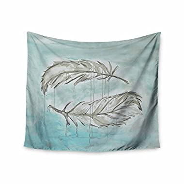 KESS InHouse Jennifer Rizzo Feathers from above Blue Gray Painting Wall Tapestry