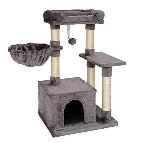 lionto KB00275 - Árbol rascador para Gatos (Altura de 85 cm), Color Gris Oscuro