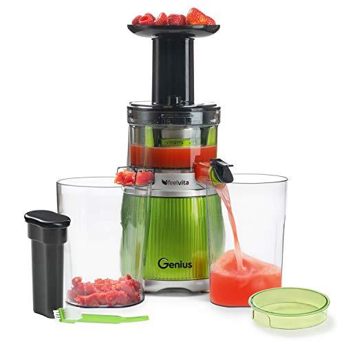 Genius Feelvita Slow Juicer 12-teilig Entsafter Saftpresse für Gemüse und Obst - leistungsstarker, leiser Induktion-Motor mit 200 Watt Bpa-frei - 100% Vitamine & Mineralien