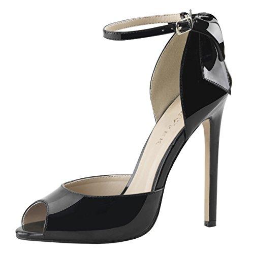 Pleaser SEXY-16 Stiletto Heel, Peep-Toe d'Orsay Pumps, Lack-Schwarz, 35-44