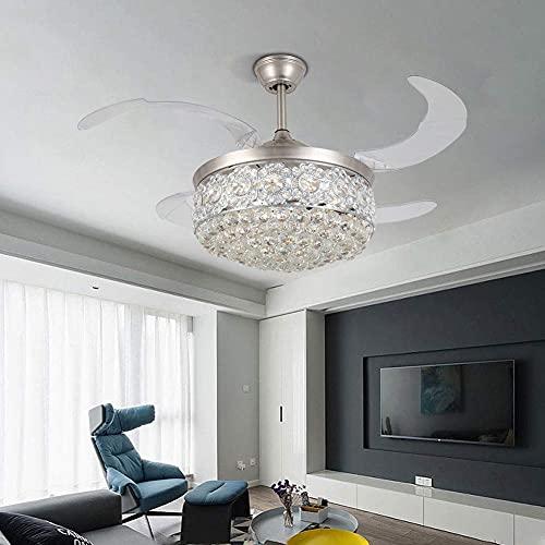 MAMINGBO Ventilador de techo con luz y control remoto 42 pulgadas Plata de plata de cristal moderno de cristal, ventilador de techo con hojas retráctiles de luz y remoto para la sala de estar del dorm