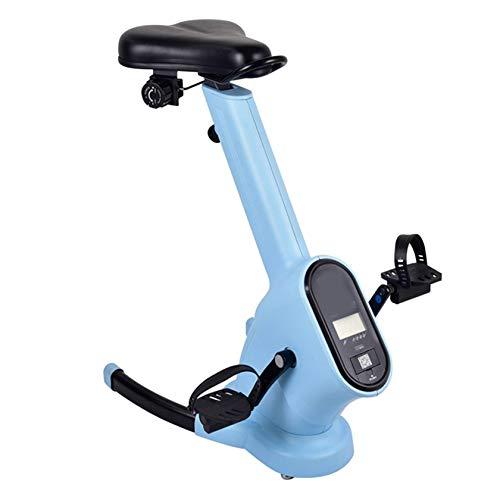 PHASFBJ Bicicleta Ejercicios para el hogar, Equipo de Ejercicio portátil para Interiores,Bicicleta de Ejercicios magnetrón Ajustable en Altura Adecuada para Ejercicios aeróbicos,Azul