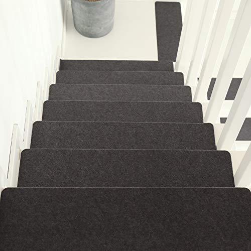QTDZ 6pcs Self-Alfombrillas Escalera Adhesivas, Antideslizante Peldaños Alfombra Escalera Cojines Peldaños Cubierta Clip Dinero Interiores Forro Goma para Niños Ancianos Perros-Gris Oscuro(22x8inch)