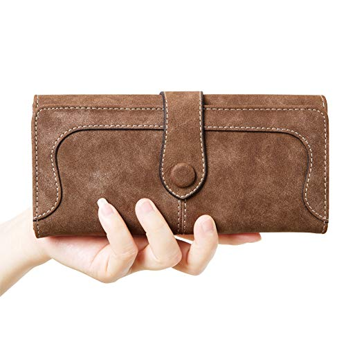 OOOK Women's Vegan Leather 17 Card Slots Long Bifold Organizer Wallet,Coffee