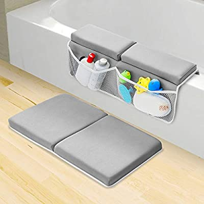 KingSo Bath Kneeler and Elbow Rest Pad Set Baby Bath Kneeling Pad Non-Slip Thick Cushion Quick Drying Bathing Kneeling Mat Bathtub Knee Saver with 4 Mesh Bags 3 Squeeze Toys for Bathing