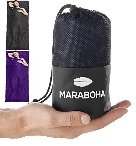 Maraboha Hüttenschlafsack aus weicher Mikrofaser, leicht und kleines Packmaß, Schlafsack Inlett mit extra Kissenfach - Perfekt für Backpacker und in warmen Ländern (Anthrazit)