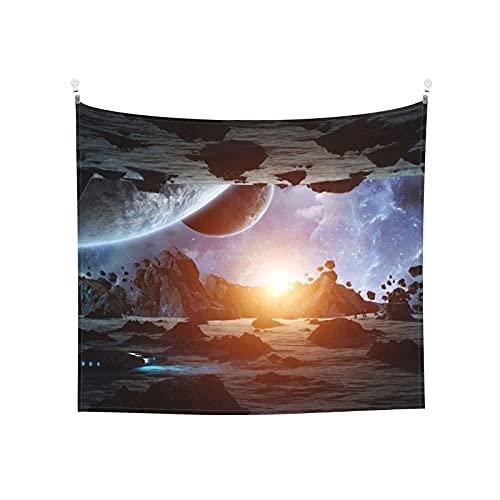 Fantascienza Spazio Universo Pianeta Astronave Aerolite Rosso Blu Arazzo da parete Estetico per camera da letto Arazzo 152x130 cm Spedizione prioritaria