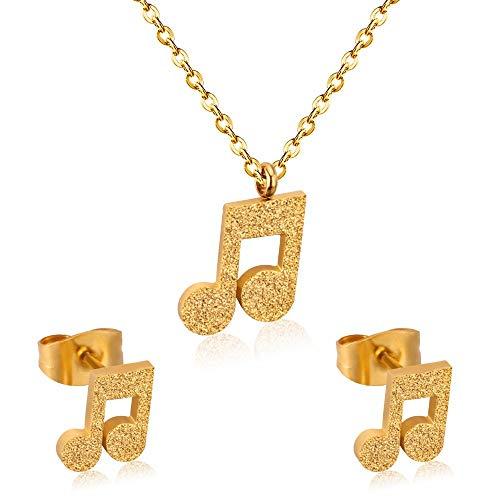 HMANE Conjuntos de Joyas Populares Conjunto de Joyas Indias de Oro de Acero Inoxidable con símbolo de músico para niñas Conjunto de Joyas para Mujeres