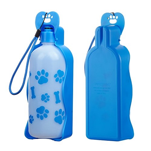Anpetbest bottiglia portatile per cani, con ciotola pieghevole incorporata, in plastica, 325ml/650ml, da viaggio.