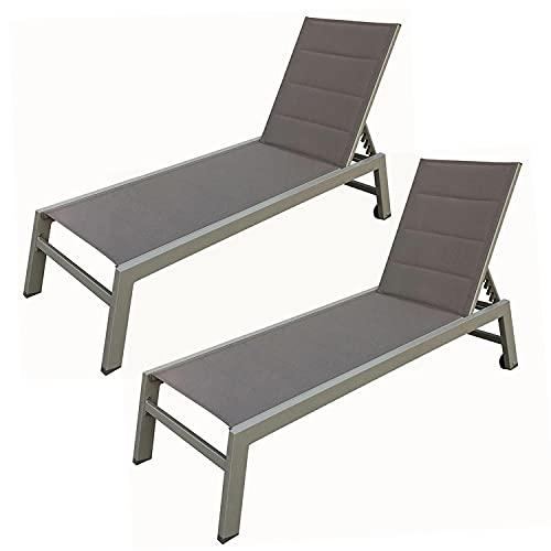 BAISAO - Bain de Soleil Droit Textilène Aluminium - Inclinable et Confortable - Léger et Facile à Déplacer - roulettes Arrière - Taupe Taupe - X2