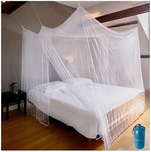 EVEN NATURALS Luxury Net for Bed Canopy, Large Tent, Double to Queen, Camping Screen House, Finest Holes Mesh 300, Square Netting Curtain, 2 Entries, Easy to Install, Hanging Kit, Storage Bag