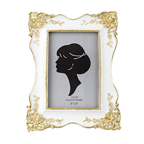SIKOO Vintage Picture Frame 4x6 Antique Tabletop Wall Hanging Photo Frame with Glass Front for Home Decor (White)