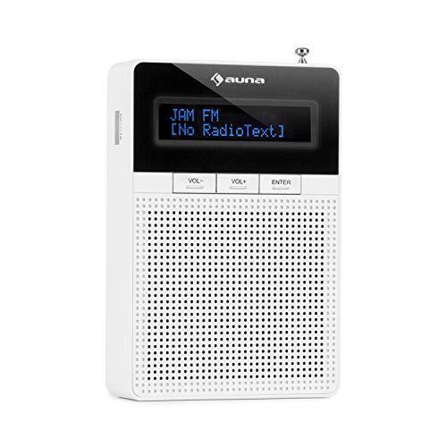 auna DigiPlug FM - Radio de Enchufe, Radio con RDS, Sintonizador FM, Bluetooth, USB, Pantalla LCD, con Altavoz de Banda Ancha Integrado, Blanco Fantasma