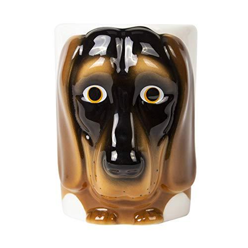 el & groove 3D Dackel Tasse in braun, Tee-Tasse 350 ml (400 ml randvoll) aus Porzellan, Kaffee-Tasse, Dog Mug, Dachshound, Hunde Tasse, Deko Becher, Geschenkidee