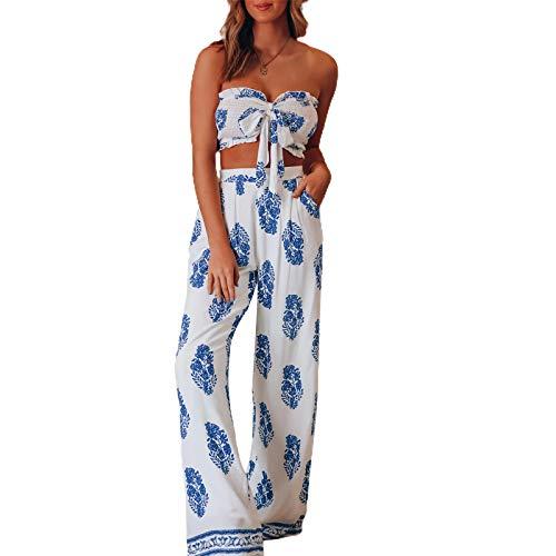 Conjunto de pantalones bohemios de pierna ancha para mujer con estampado vintage y camisetas sin mangas holgadas estilo palazzo de verano de 2 piezas, blanco, 36