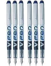 Pilot blå V penna reservoarpenna engångs medium linje flytande bläck SVPN-4 W (paket med 6) BLÅ