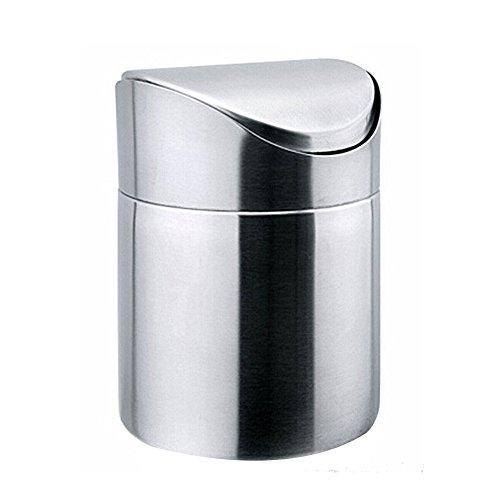DesignerBox Mini papelera de escritorio de acero inoxidable de 1,5 l, con tapa basculante, para cocina, baño, oficina, color plateado