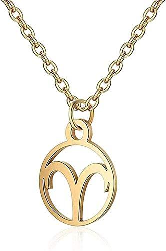 LBBYLFFF Collar de Acero Inoxidable, Collar del Zodiaco, Mujeres, Imagen de 12 Estrellas, horóscopo, Oro, Pareja, Collares, Hombres, niña, Regalo