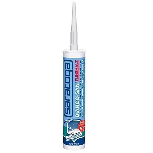 Bianco San FungHalt trasparente Silicone sigillante antimuffa specifico per sanitari, bagni e cucine 310 ml garantisce la protezione dalla muffa in ambienti umidi