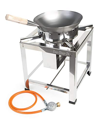 Edelstahl Hockerkocher/Wokbrenner Wok Gaskocher 10 KW mit Wokpfanne + Wokring (Gastronomie-Gastro Kocher, Asia Kocher, Gastrokocher, Gasherd Chinaherd)