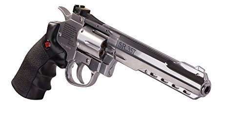 Crosman CRVL357S SR357 Full Metal CO2-Powered 6- Shot BB Revolver Air Pistol, Silver