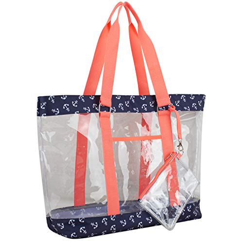 Eastsport Supreme Deluxe 100% Clear PVC Printed Large Tote with Free Large Wristlet, Clear/Anchor Print/Coral Sizzle Trim