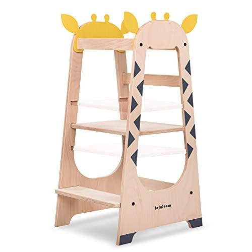 Lalaloom GIRAFFE TOWER - Torre de aprendizaje Montessori para niños y bebés, de madera natural, con altura ajustable y barra de seguridad, torre de actividades educativas a partir de 18 meses
