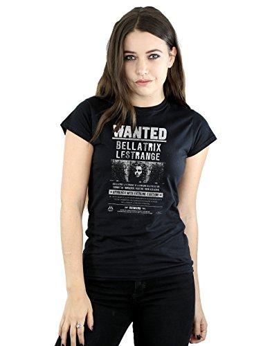 HARRY POTTER Mujer Bellatrix Lestrange Wanted Camiseta Medium Negro