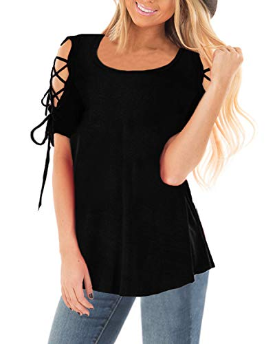 CNFIO Camisas Mujer Manga Corta Tops Casual Blusa Mujer Camisa Suelta Primavera Shirts