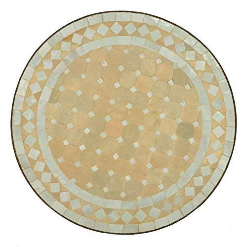 Casa Moro Mediterraner Gartentisch marokkanischer Mosaiktisch Ø 45 cm rund weiß terrakotta mit Gestell H 55 cm Kunsthandwerk aus Marrakesch Handmade Bistrotisch Balkontisch MT2992