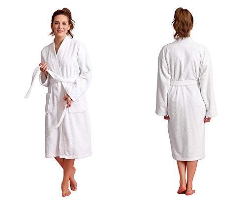 Toalla Albornoces Super Suave,Los hombres y las mujeres con kimono engrosado pueden usar toallas de baño,albornoces de algodón y otoño para el hogar,blanco,Bata Algodón de Kimono Ropa con Cinturón