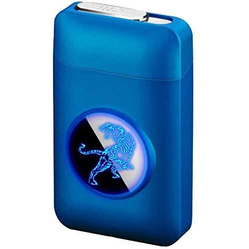 OUUUKL Caja de Cigarrillo con Mechero, Cigarette Case de Aluminio, USB Recargable Caja Cigarrillo sin Llama Resistente al Viento Encendedor, para Mujer y Hombre