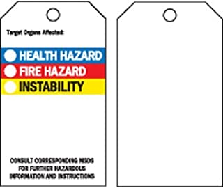 """Brady 76238, 5.75""""x3"""" B-302 Target Organs Affected Tag, Black/Blue/Red/Yellow on White, 5 Packs of 25 pcs"""