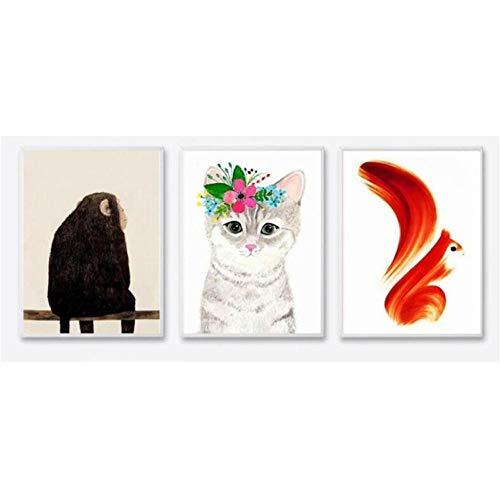 Moderne abstract dierposters en prints muurkunst canvas printing Monkey, kat en snoepjes voor kinderen slaapkamer huisdecoratie 40 x 60 cm x 3 zonder frame