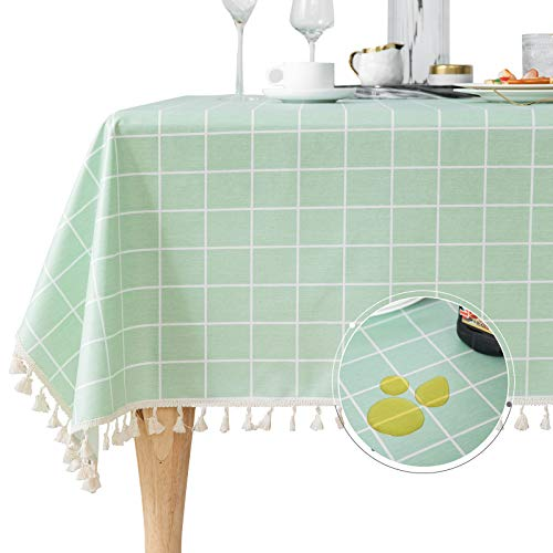 Linen Oilcloth Tablecloth Rectangle Tassel Waterproof PVC Clear Table Cover Protector Heavy Duty Wipeable Wrinkle Free for Kitchen Dinning Outdoor Camping Green Plaid 55 x 86 Inch
