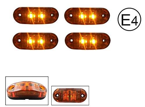 4x LED 12V GELB ORANGE BEGRENZUNGSLEUCHTE UMRISSLEUCHTE POSITIONSLEUCHTE SEITENMARKIERUNGSLEUCHTE LKW E-Prüf E9