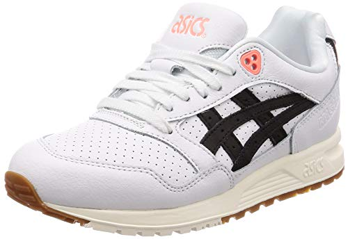 ASICS Gel-Saga Hombres Blanco/Negro Cuero Zapatillas-UK 9 / EU 44