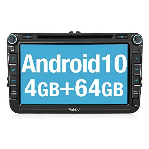 Vanku Android 10.0 autoradio con DVD, PX5 RAM 4 GB ROM 64 GB per Golf Touran Jetta Polo Passat, Bluetooth/Controllo al volante/DVD/Mirror-Link/USB/WiFi/Subwoofer/Dab/RDS avvio in 1s 8 pollici