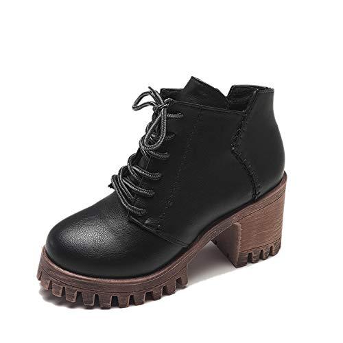 Shukun laarzen Martin laarzen vrouwen platform laarzen vrouwen dik met veelzijdige High Heels herfst en winter retro laarzen kinderen