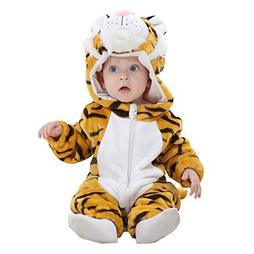 BaronHong Tuta da Uomo di Pagliaccio Unisex-Baby Flanella con Cappuccio di Cartone Animato Tutina Sportiva (Tigre, 90 cm)
