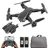 ANAN Drone Plegable con Camara 6K HD, Drones RC con Cámaras duales, 5GHz WiFi FPV Drone GPS, con 5G WiFi FPV RC Quadcopter, Largo Tiempo de Vuelo 25 x 2 Minutos 2 baterias