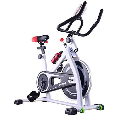 Bicicleta de ciclismo interior, entrenamiento de cardio Fitness Bike Spinning Bike Cinturón tranquilo Ejercicio Bycicle estacionario, volante estable / asiento y mango ajustable ( Color : White )