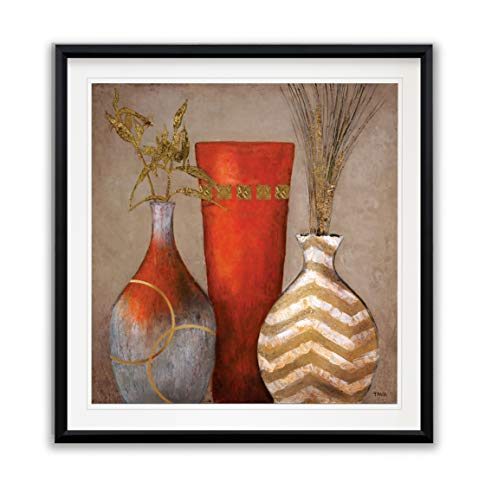 WEXFORD HOME Mia Casa a Portofino II Vase Pictures Decor Painting Contemporary Framed Giclee Abstract Canvas Prints Wall Art, 16 x 16