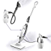 LIGHT 'N' EASY Multifunctional Steam Mop with Detachable Handheld Unit Floor Steamers Cleaner for Hardwood,Grout,Tile White, 7688ANW (Renewed)