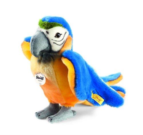 Steiff 063879 - Lori Papagei 26 cm staand, blauw/geel
